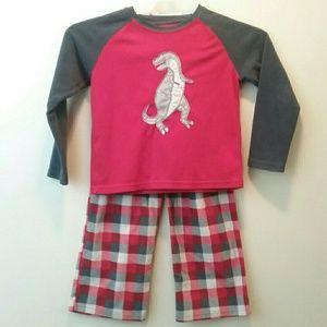 Dinosaur 6 Boys Fleece Pajamas Jammies Pjs Red